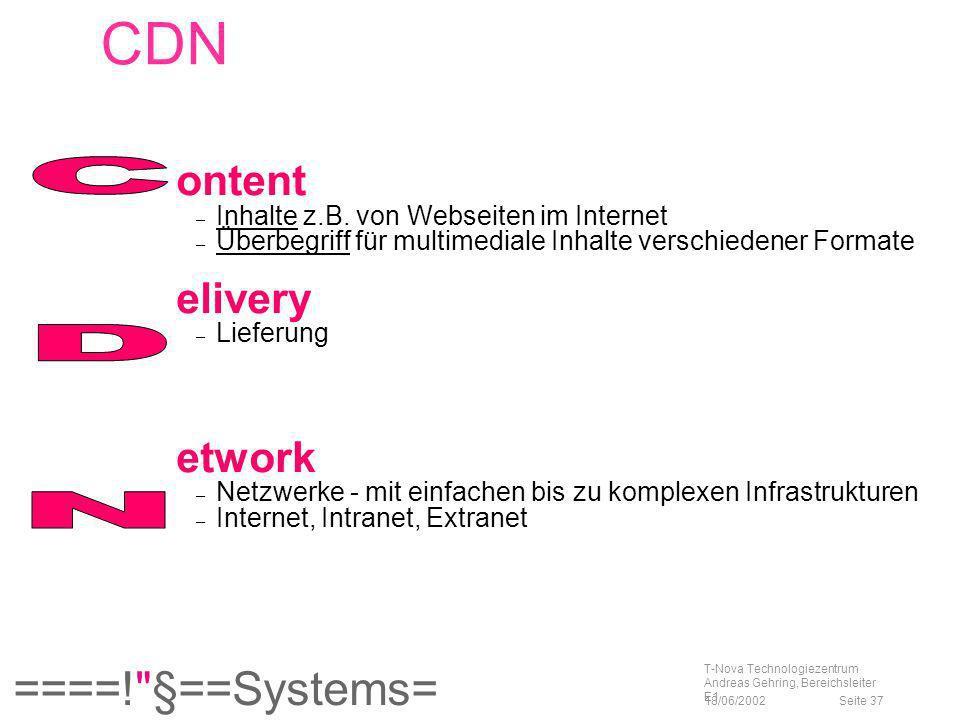 C D N CDN ontent elivery etwork Inhalte z.B. von Webseiten im Internet