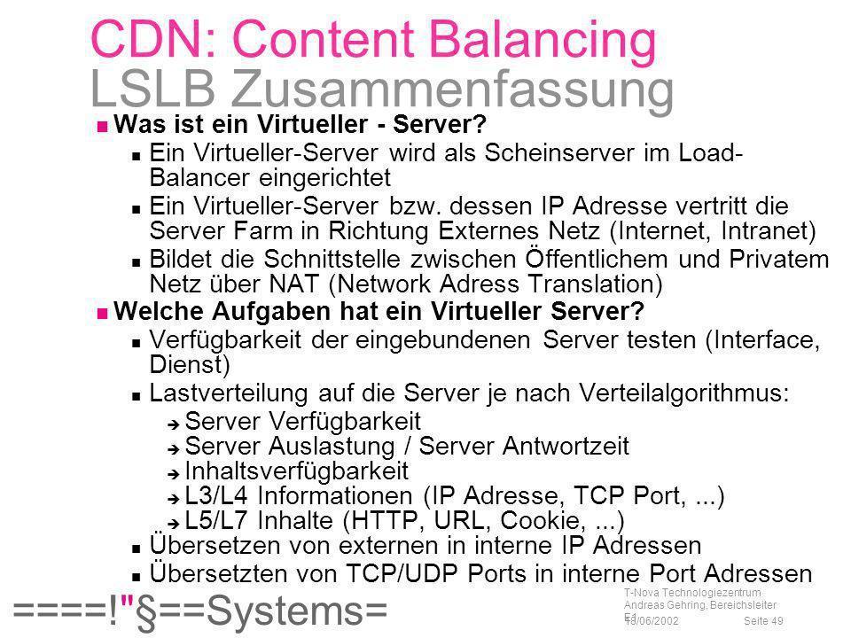 CDN: Content Balancing LSLB Zusammenfassung