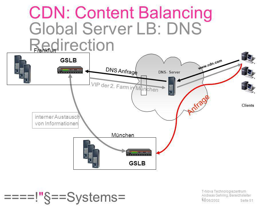 CDN: Content Balancing Global Server LB: DNS Redirection