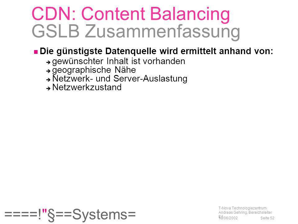 CDN: Content Balancing GSLB Zusammenfassung