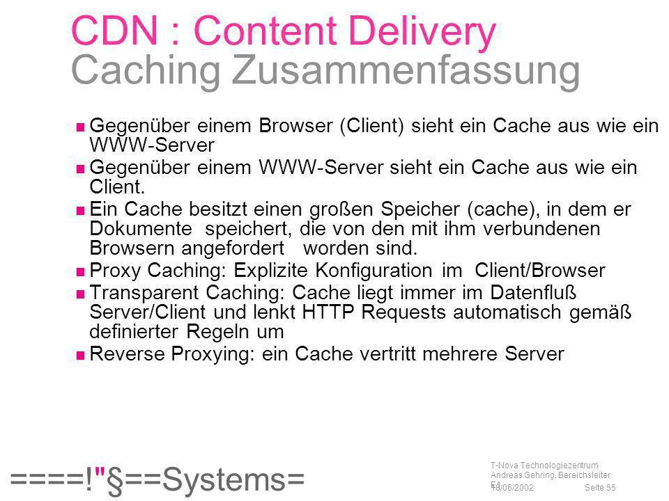 CDN : Content Delivery Caching Zusammenfassung