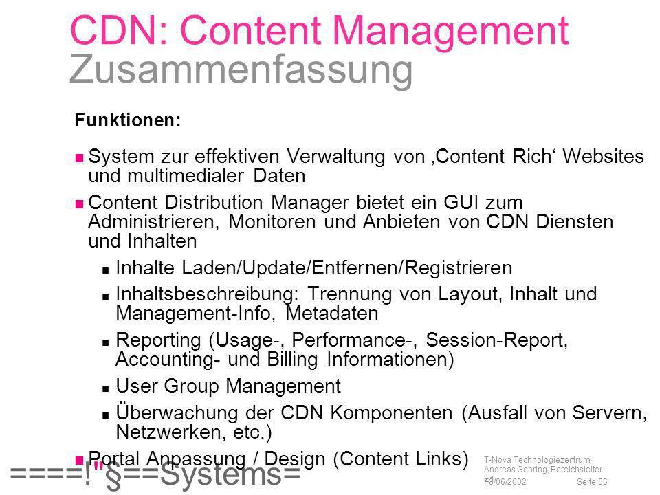 CDN: Content Management Zusammenfassung