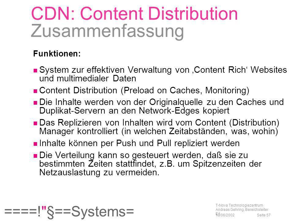 CDN: Content Distribution Zusammenfassung