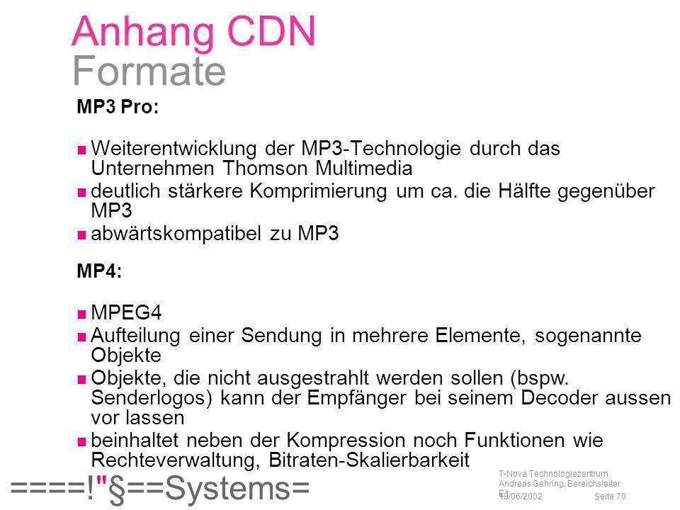 Anhang CDN Formate MP3 Pro: Weiterentwicklung der MP3-Technologie durch das Unternehmen Thomson Multimedia.