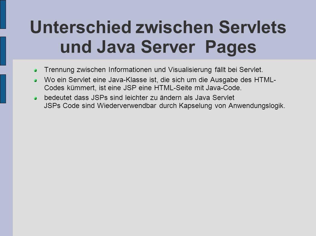 Unterschied zwischen Servlets und Java Server Pages