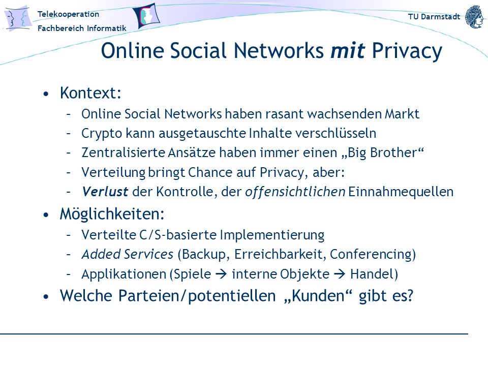 Online Social Networks mit Privacy