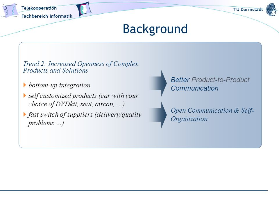 Background Trend 2: Increased Openness of Complex Products and Solutions. bottom-up integration.
