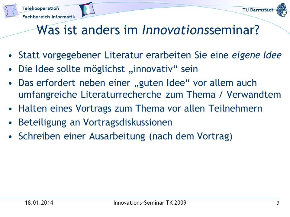 Was ist anders im Innovationsseminar