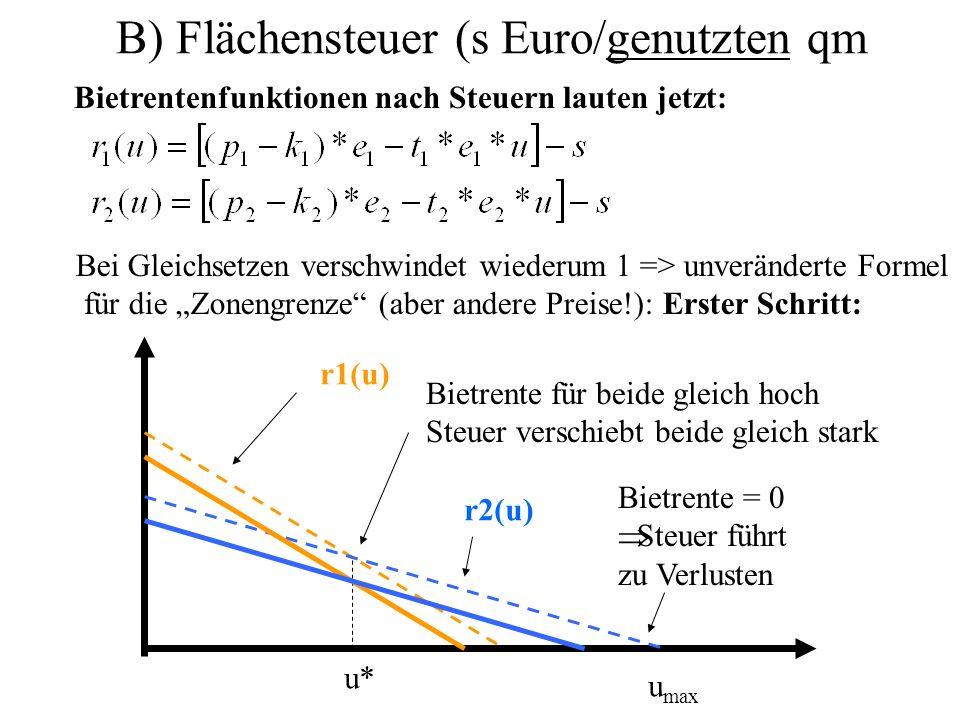 B) Flächensteuer (s Euro/genutzten qm