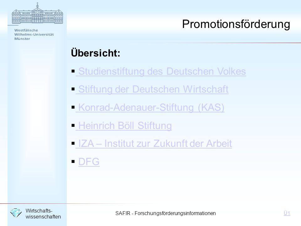Promotionsförderung Übersicht: Studienstiftung des Deutschen Volkes