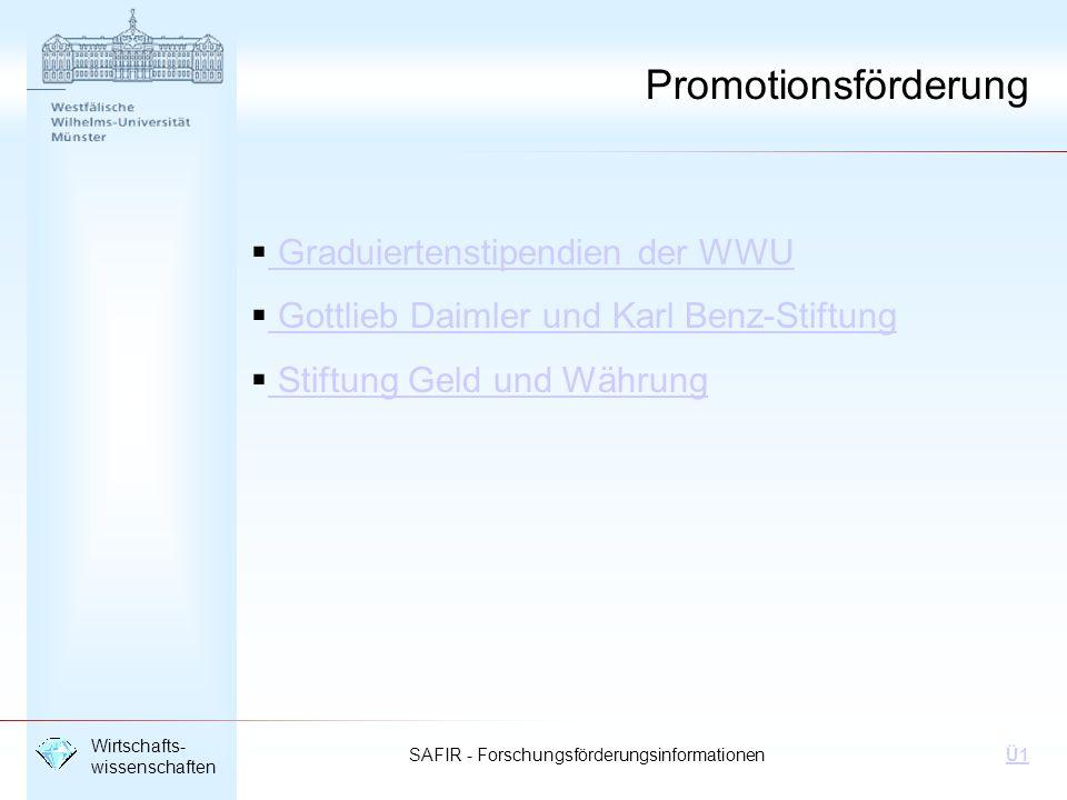 Promotionsförderung Graduiertenstipendien der WWU