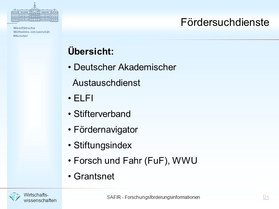 Fördersuchdienste Übersicht: Deutscher Akademischer Austauschdienst