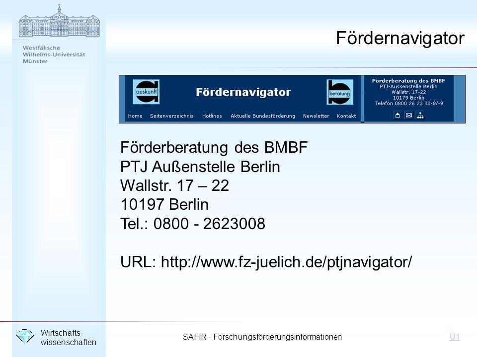 Fördernavigator Förderberatung des BMBF PTJ Außenstelle Berlin