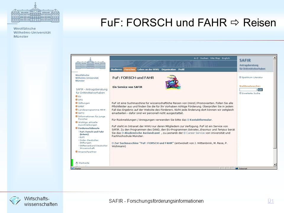 FuF: FORSCH und FAHR  Reisen