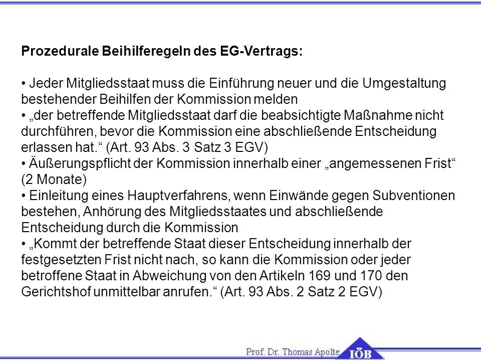 Prozedurale Beihilferegeln des EG-Vertrags: