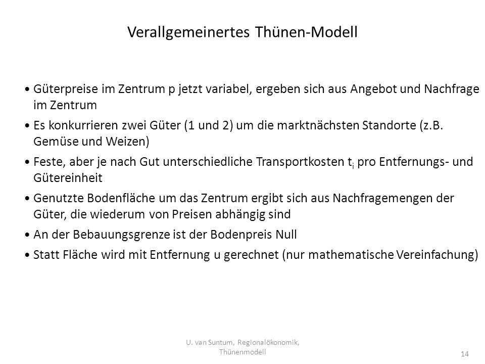 Verallgemeinertes Thünen-Modell