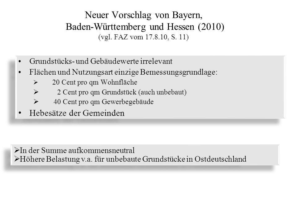Neuer Vorschlag von Bayern, Baden-Württemberg und Hessen (2010) (vgl