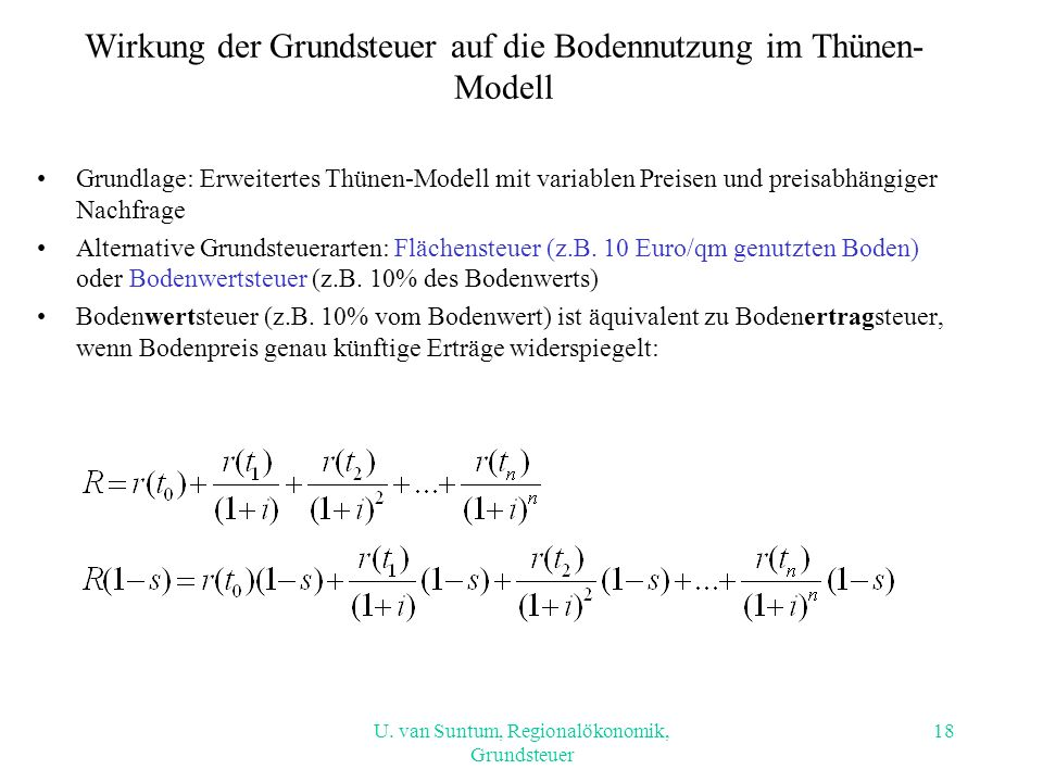 Wirkung der Grundsteuer auf die Bodennutzung im Thünen-Modell