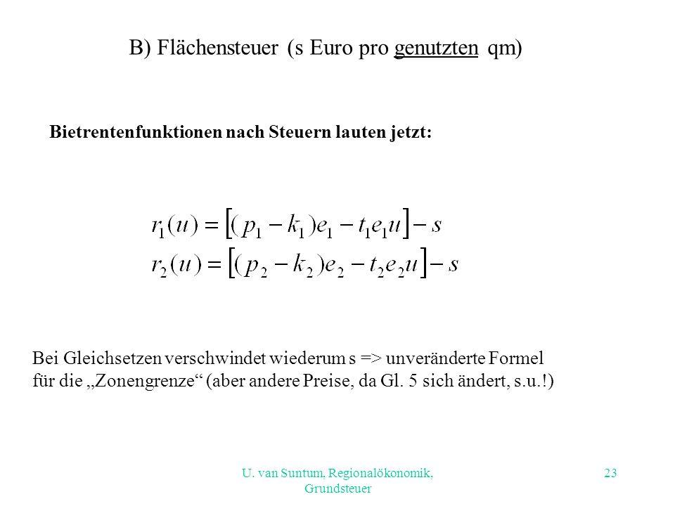 B) Flächensteuer (s Euro pro genutzten qm)