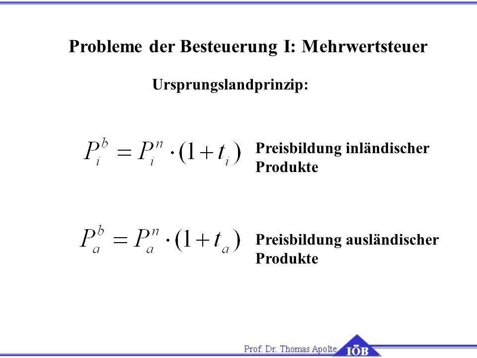 Probleme der Besteuerung I: Mehrwertsteuer