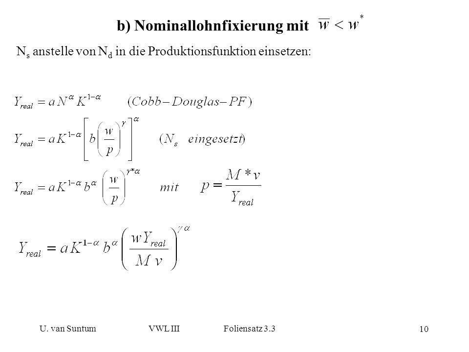 b) Nominallohnfixierung mit