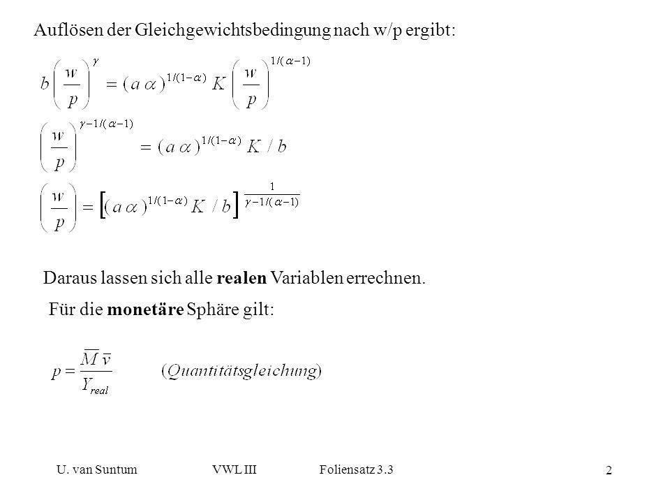 Auflösen der Gleichgewichtsbedingung nach w/p ergibt: