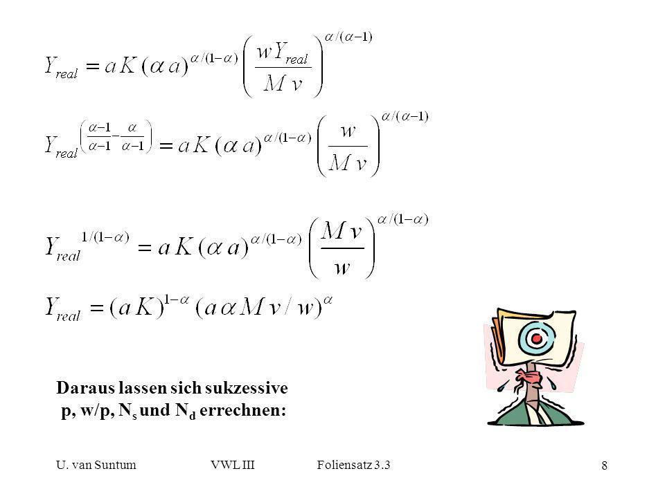 Daraus lassen sich sukzessive p, w/p, Ns und Nd errechnen:
