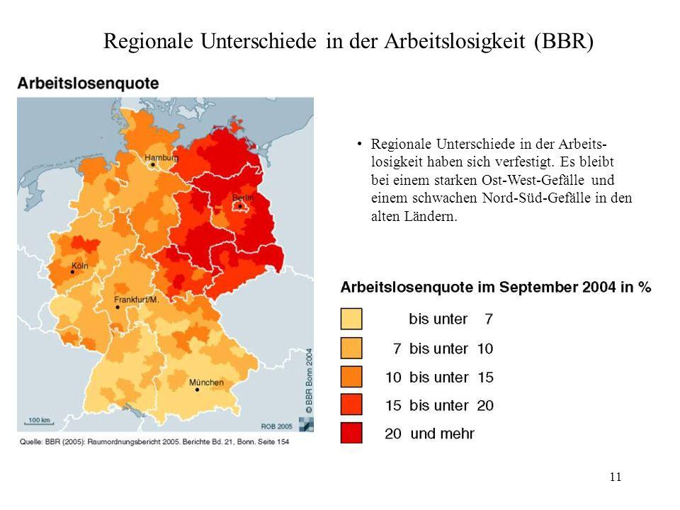 Regionale Unterschiede in der Arbeitslosigkeit (BBR)