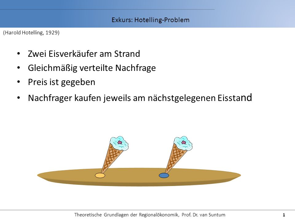 Theoretische Grundlagen der Regionalökonomik, Prof. Dr. van Suntum