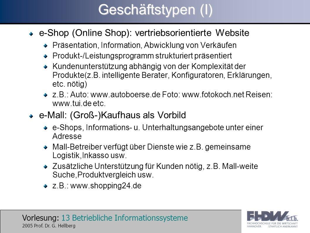 Geschäftstypen (I) e-Shop (Online Shop): vertriebsorientierte Website