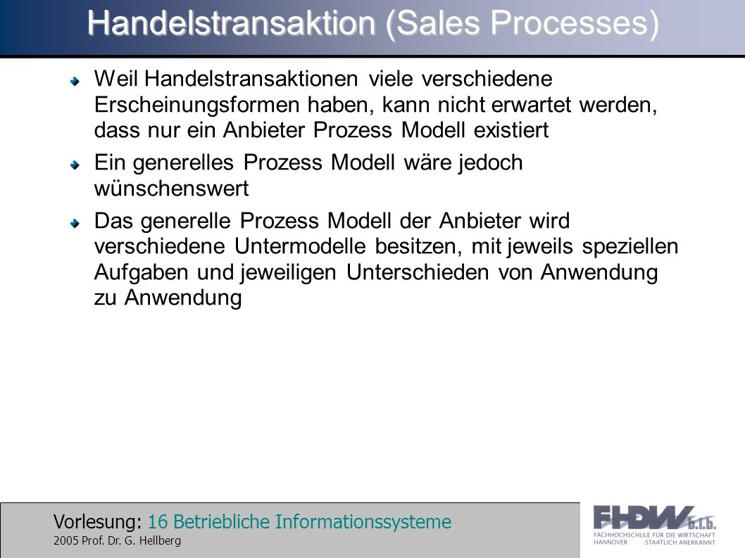 Handelstransaktion (Sales Processes)