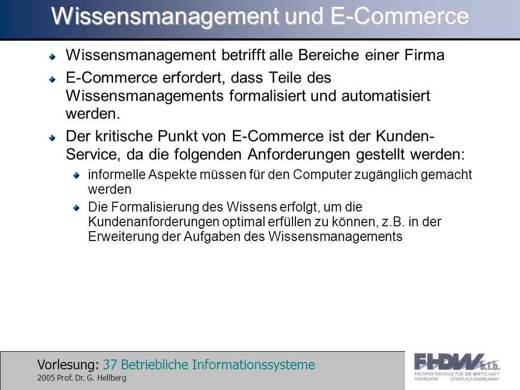 Wissensmanagement und E-Commerce