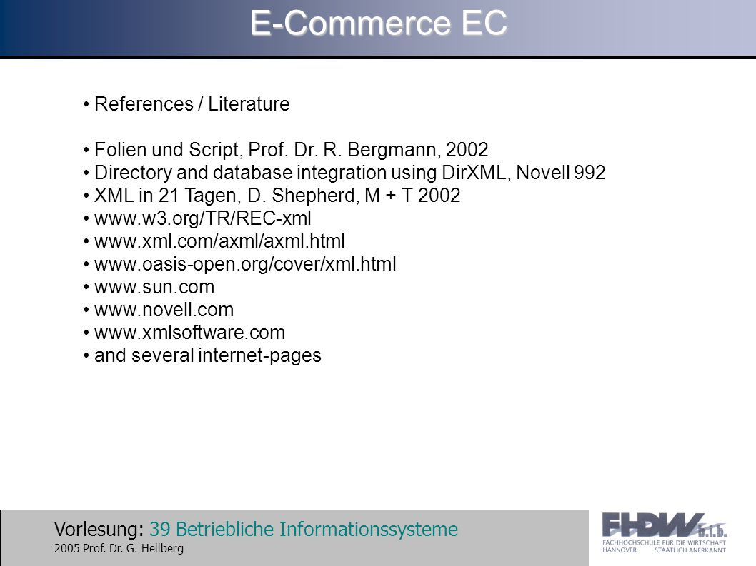 E-Commerce EC References / Literature