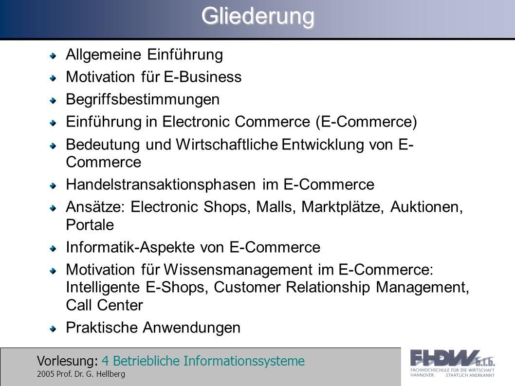 Gliederung Allgemeine Einführung Motivation für E-Business