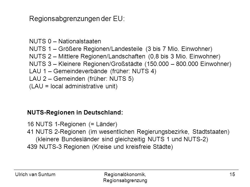 Regionalökonomik, Regionsabgrenzung