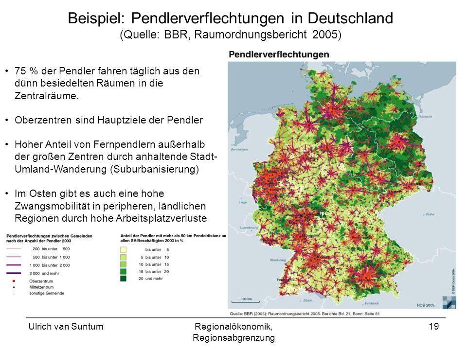 Beispiel: Pendlerverflechtungen in Deutschland