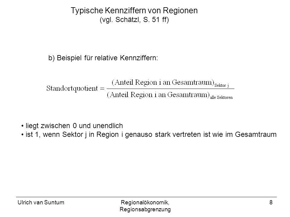 Typische Kennziffern von Regionen