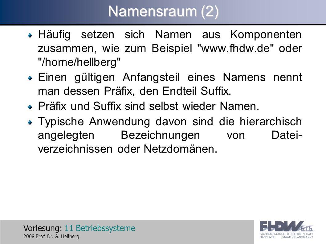 Namensraum (2) Häufig setzen sich Namen aus Komponenten zusammen, wie zum Beispiel www.fhdw.de oder /home/hellberg