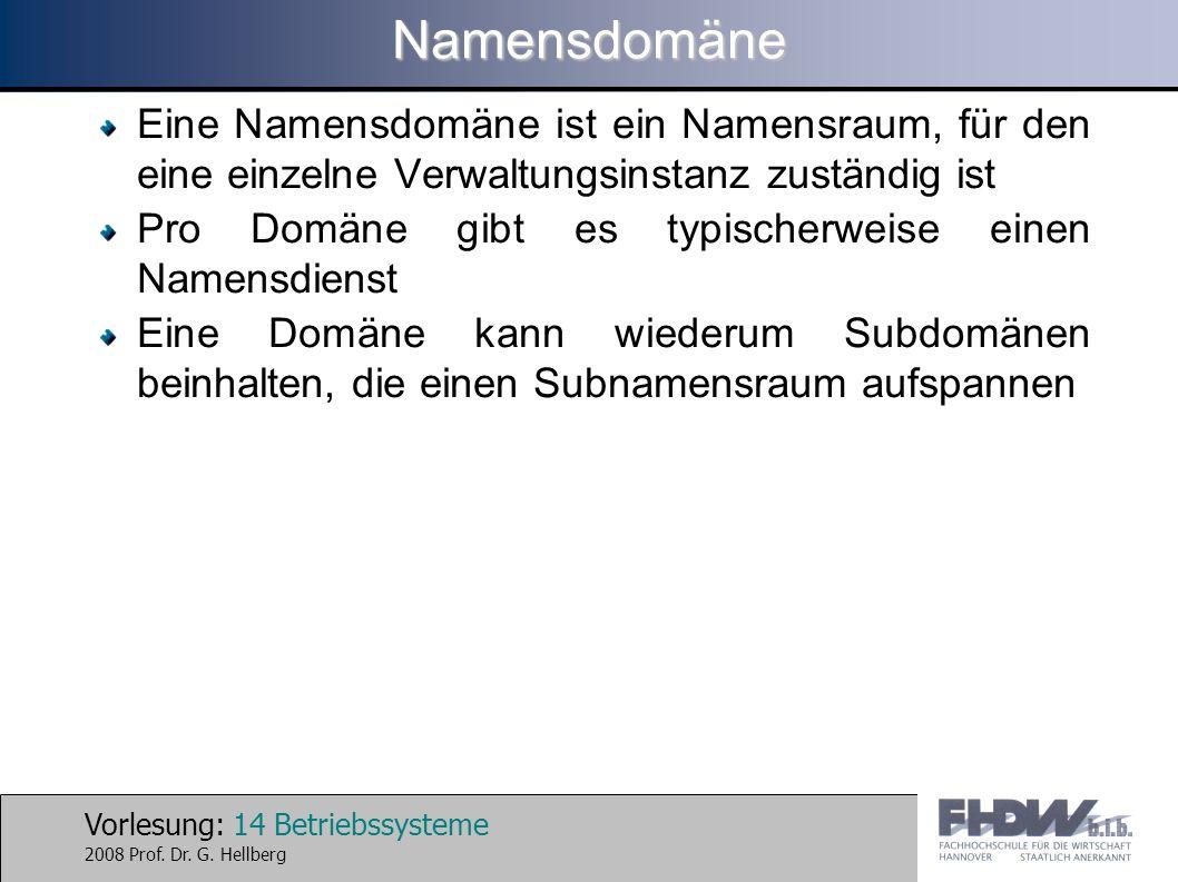 Namensdomäne Eine Namensdomäne ist ein Namensraum, für den eine einzelne Verwaltungsinstanz zuständig ist.