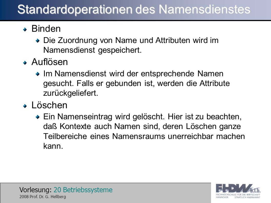 Standardoperationen des Namensdienstes