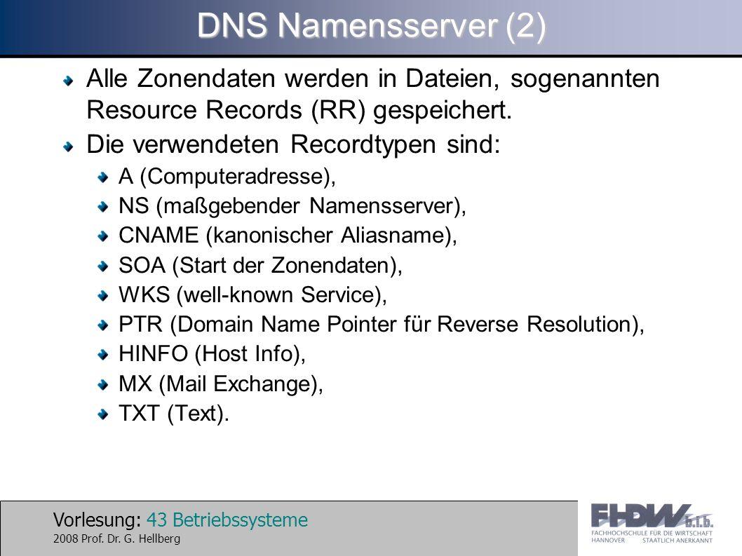DNS Namensserver (2) Alle Zonendaten werden in Dateien, sogenannten Resource Records (RR) gespeichert.