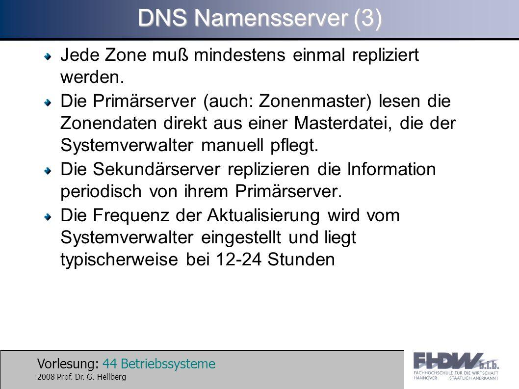 DNS Namensserver (3) Jede Zone muß mindestens einmal repliziert werden.