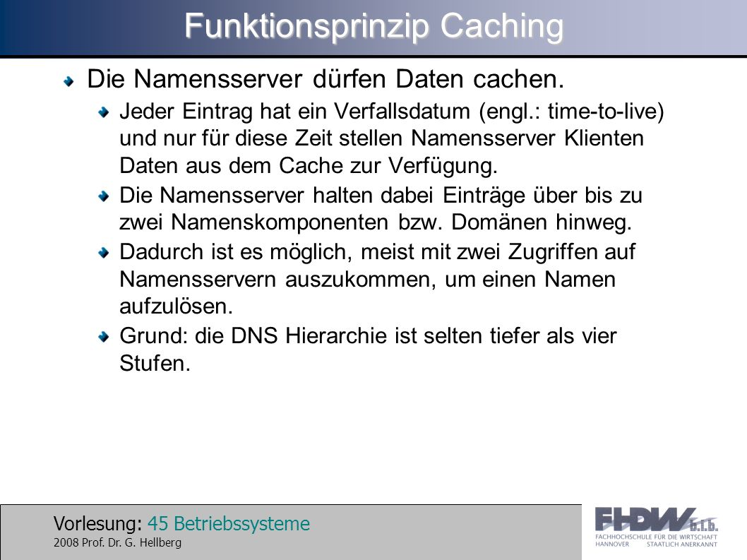 Funktionsprinzip Caching