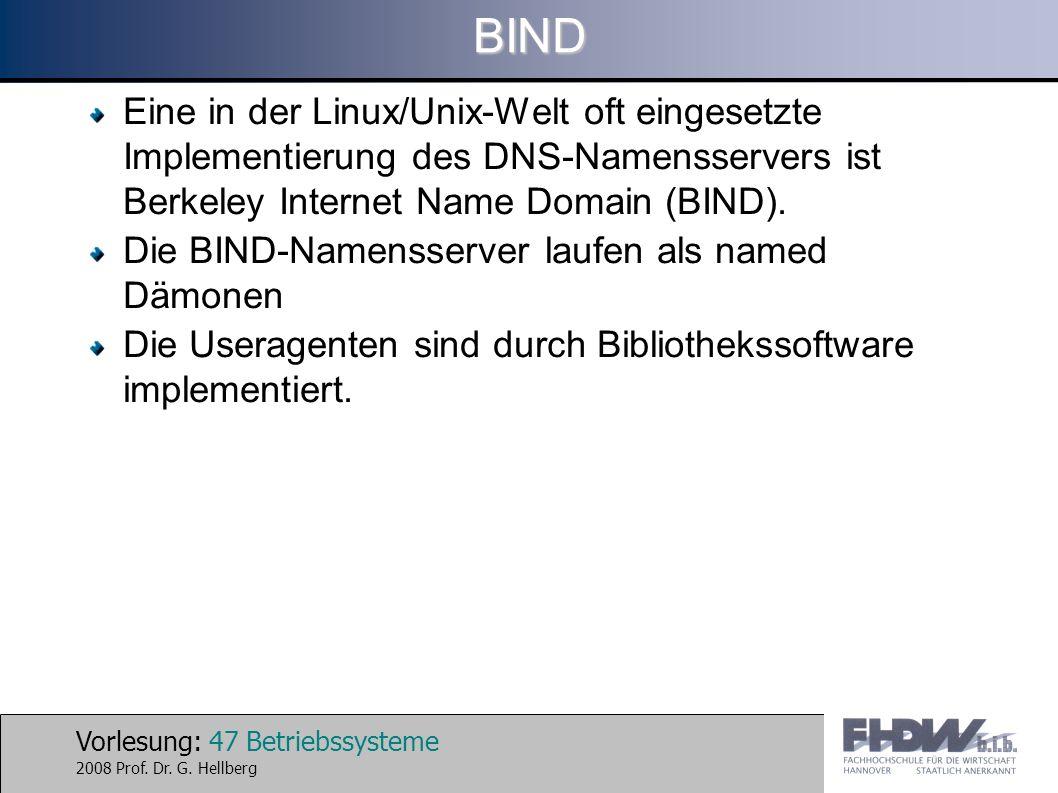 BIND Eine in der Linux/Unix-Welt oft eingesetzte Implementierung des DNS-Namensservers ist Berkeley Internet Name Domain (BIND).