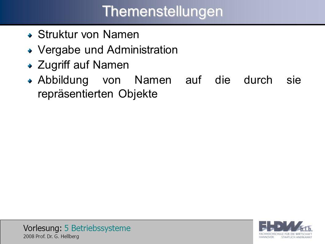 Themenstellungen Struktur von Namen Vergabe und Administration