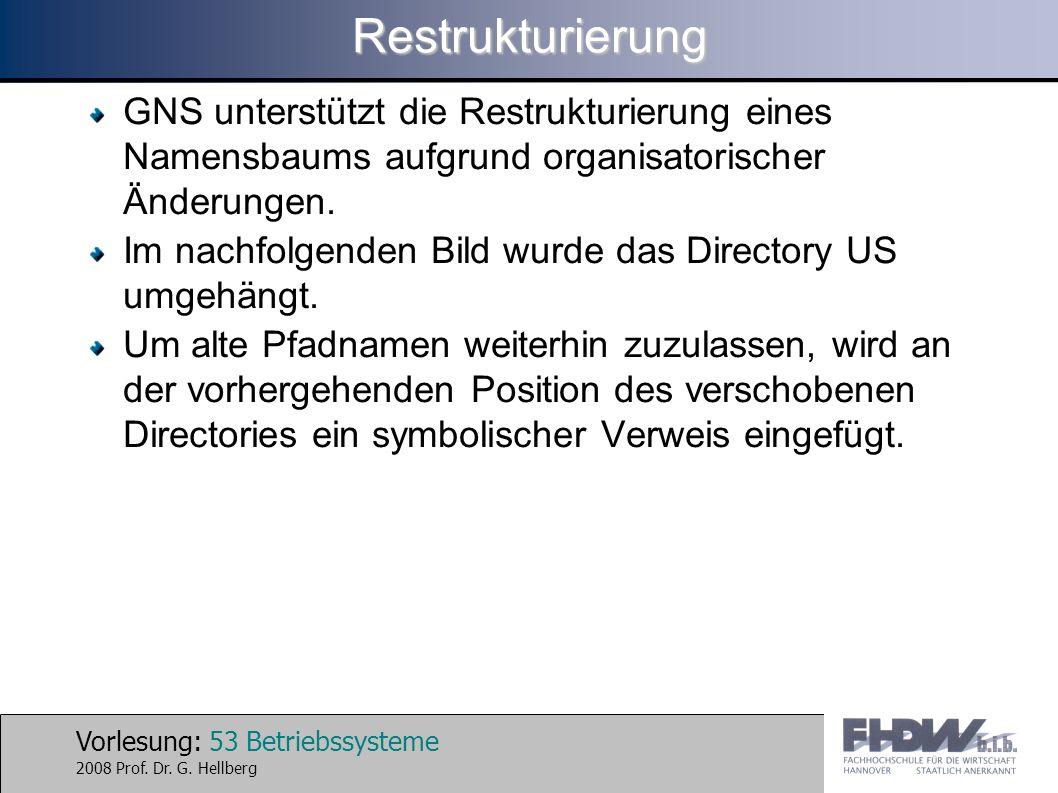 Restrukturierung GNS unterstützt die Restrukturierung eines Namensbaums aufgrund organisatorischer Änderungen.