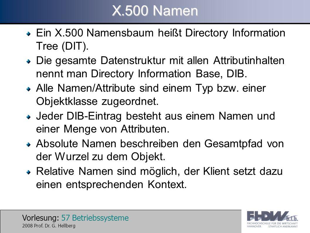 X.500 Namen Ein X.500 Namensbaum heißt Directory Information Tree (DIT).