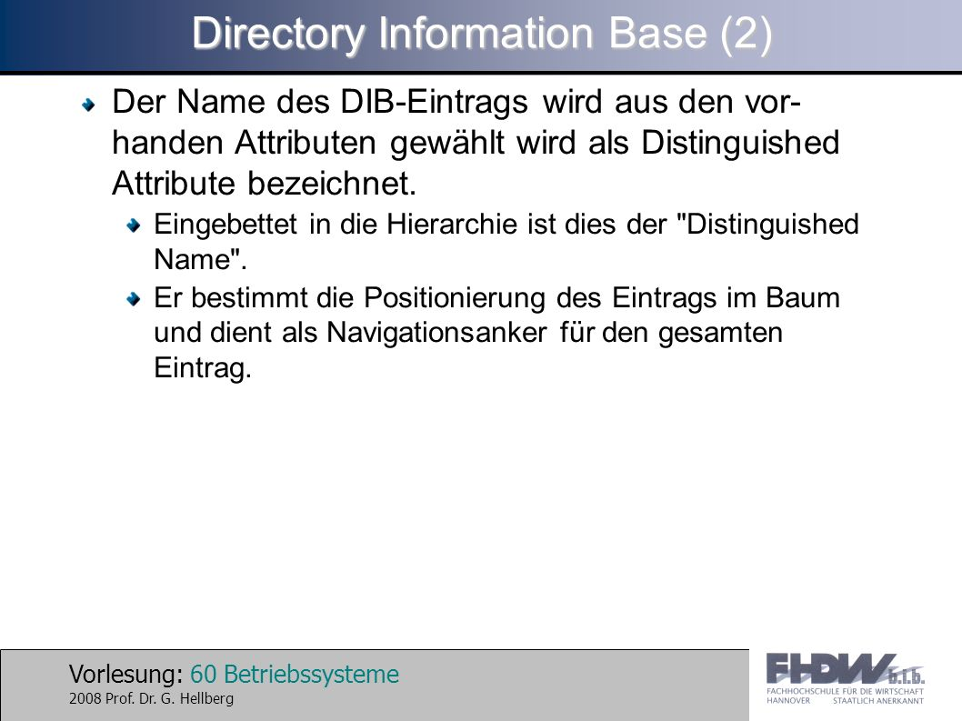 Directory Information Base (2)