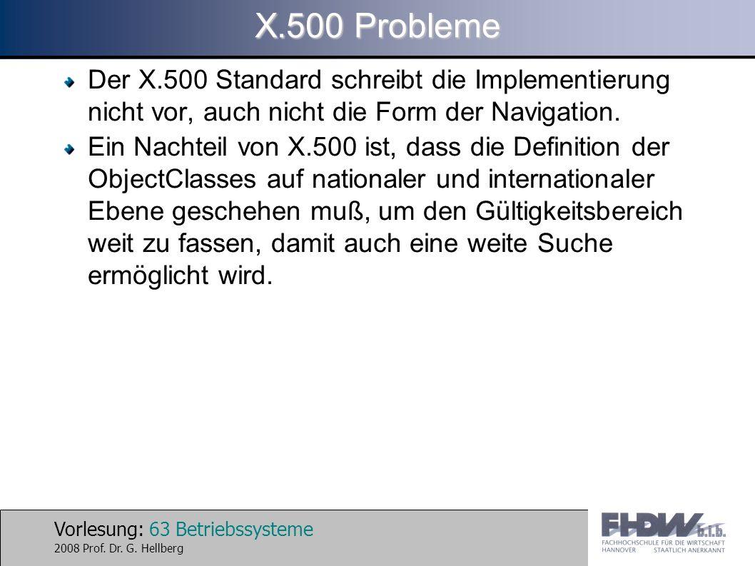 X.500 Probleme Der X.500 Standard schreibt die Implementierung nicht vor, auch nicht die Form der Navigation.