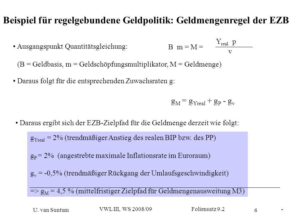 Beispiel für regelgebundene Geldpolitik: Geldmengenregel der EZB